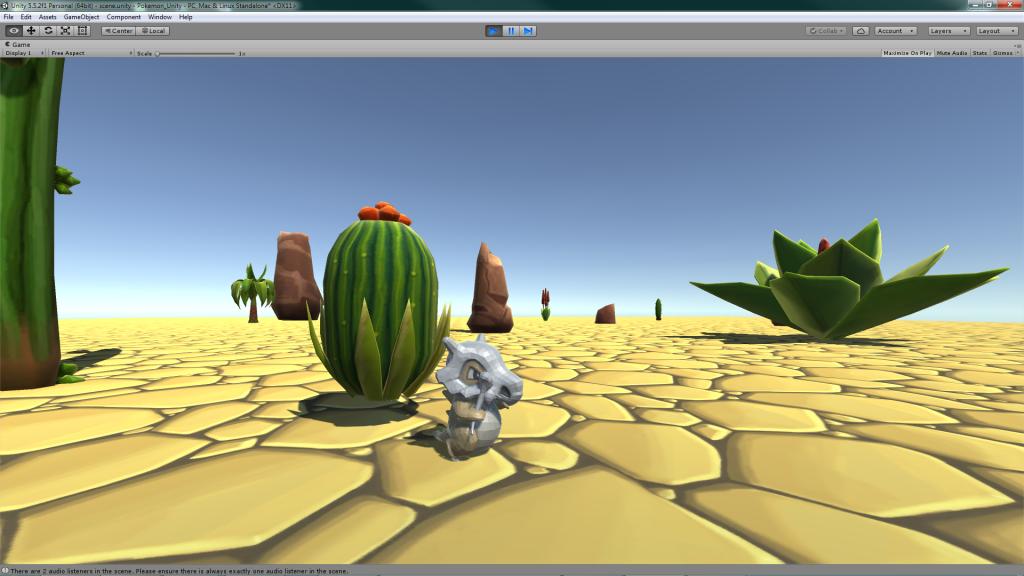 Jogo com um Pokemon implementado em Game Engine após Modelagem Esqueletal do Personagem